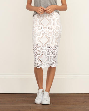 Womens Lace Midi Skirt