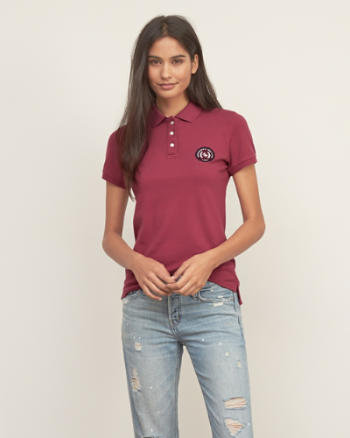 Womens Embroidered Logo Slim Polo