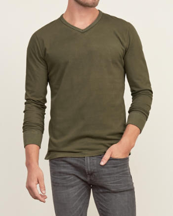 Mens Washed V-neck Tee