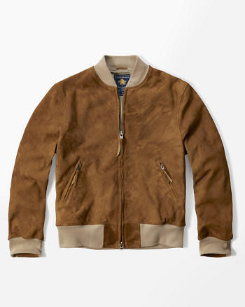 ANF Genuine Suede Bomber Jacket