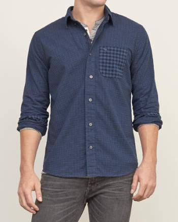 Mens Contrast Check Shirt
