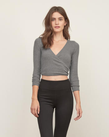 Womens Wrap Front Crop Tee
