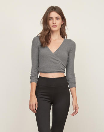 ANF Wrap Front Crop Tee
