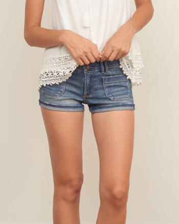 Womens Low Rise 2 Inch Denim Shorts