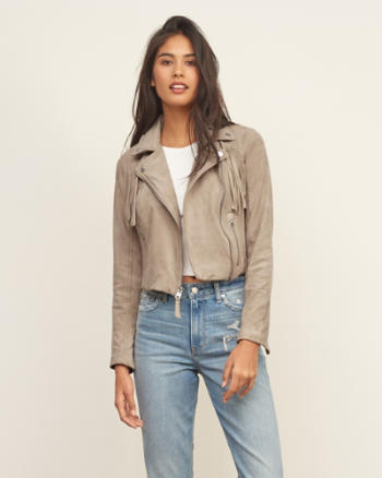Womens Fringe Vegan Suede Jacket