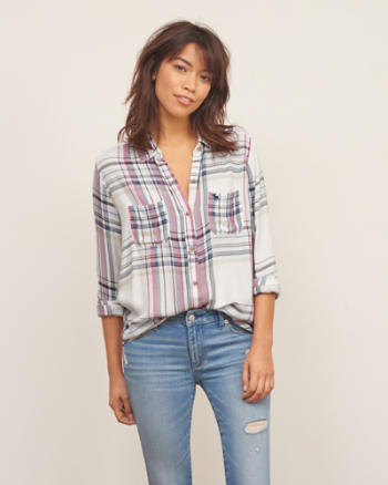 Womens Plaid Pocket Shirt