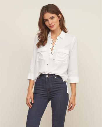 ANF Lace-Up Pocket Shirt