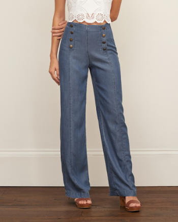 Womens Wide Leg Sailor Pants