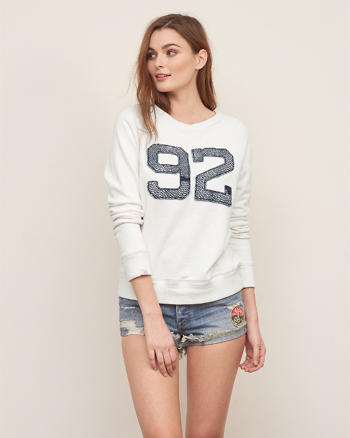 ANF Applique Logo Crew Sweatshirt