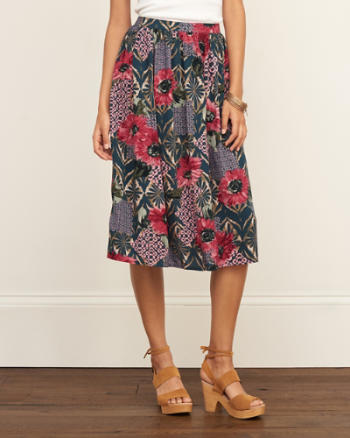 Womens Patterned Midi Skirt