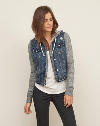 Womens Denim Hoodie Jacket