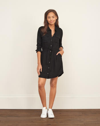 Womens Drapey Shirt Dress