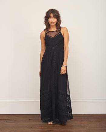 Womens Embroidered Overlay Maxi Dress