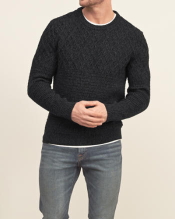 Mens Mixed Stitch Crew Sweater