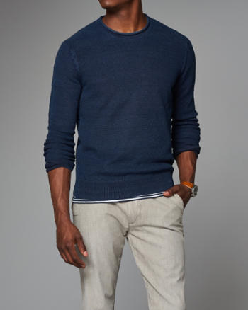 Mens Indigo Crew Sweater