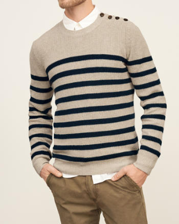 Mens Button-Shoulder Stripe Sweater