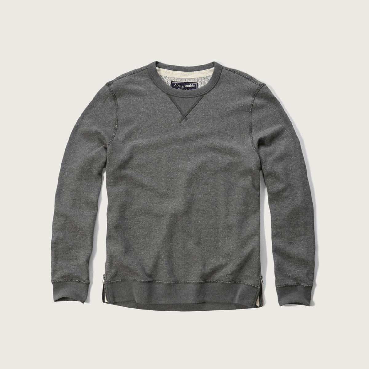 Side Zip Crew Sweatshirt