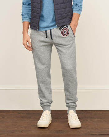 Mens Applique Logo Zip Joggers