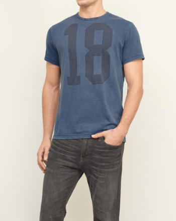 Mens Washed Logo Print Tee