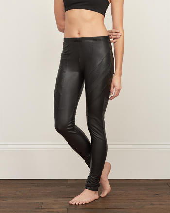 ANF Plush Mixed Faux Leather Leggings