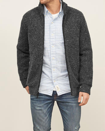 ANF Mock Neck Full Zip Sweater