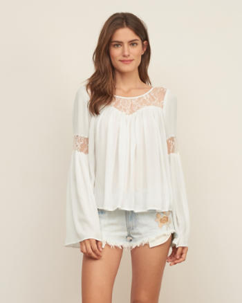 Womens Lace Panel Easy Top