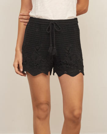Womens Crochet Lace Soft Shorts