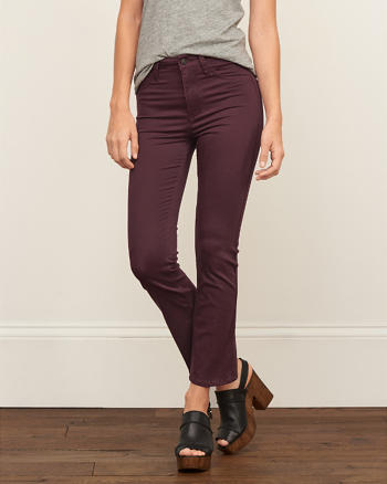 ANF High Rise Cropped Flare Sateen Pants