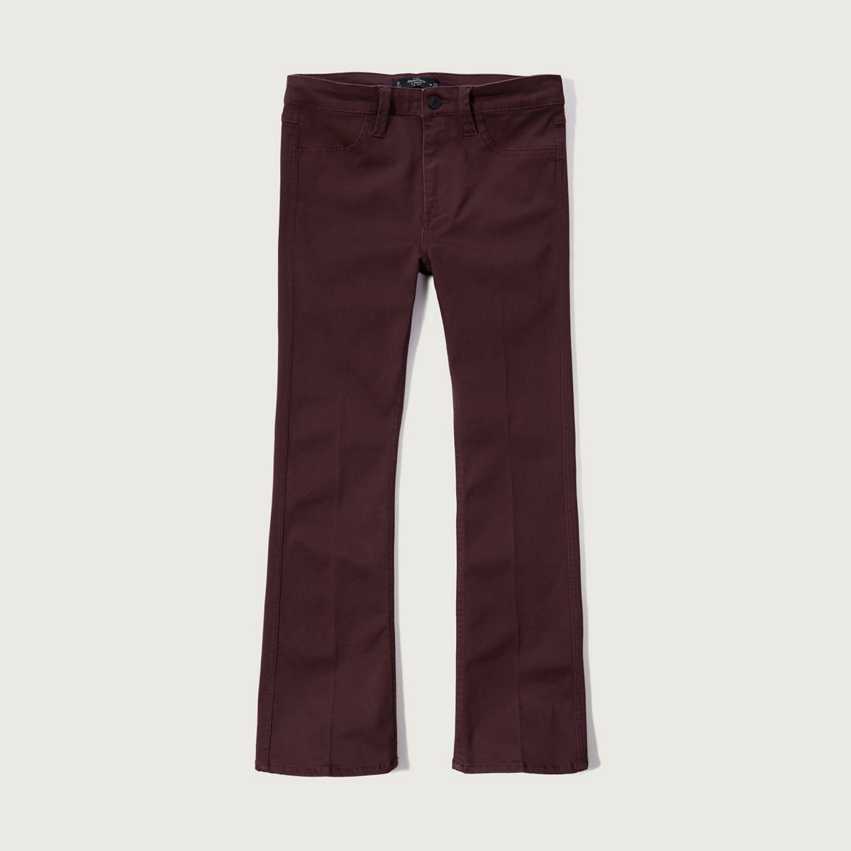High Rise Cropped Flare Sateen Pants