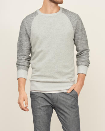 Mens Textured Crew Sweatshirt
