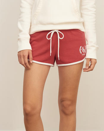 ANF Logo Curved Hem Fleece Shorts