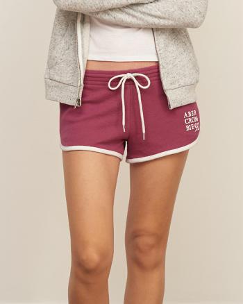 ANF Logo Curved Hem Fleece Shorts