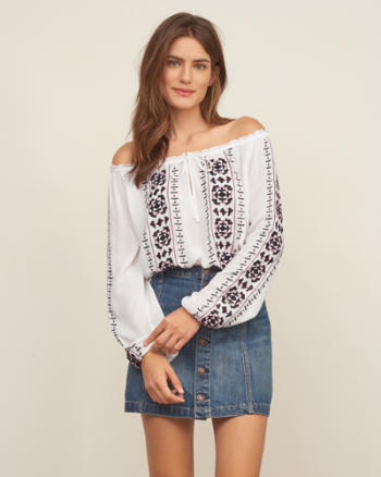 Womens Embroidered Easy Top