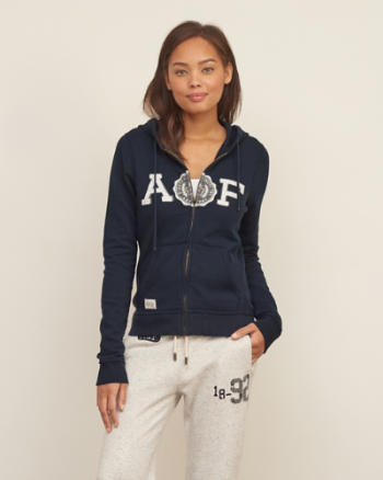 Womens Applique Logo Graphic Hoodie