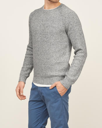 Mens Textured Crew Sweater