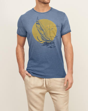 Mens Sailboat Graphic Pocket Tee