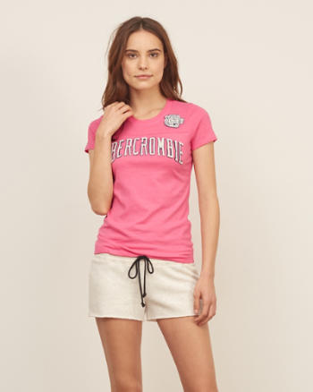 Womens Applique Heritage Logo Graphic Tee