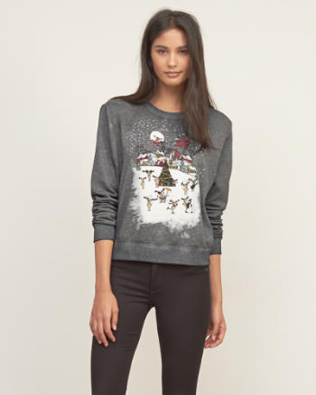 Womens Christmas Graphic Sweatshirt
