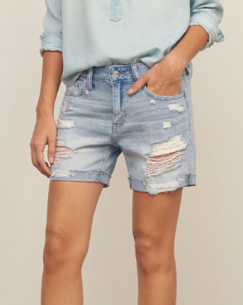 Womens Low Rise Denim Boyfriend BoyShorts