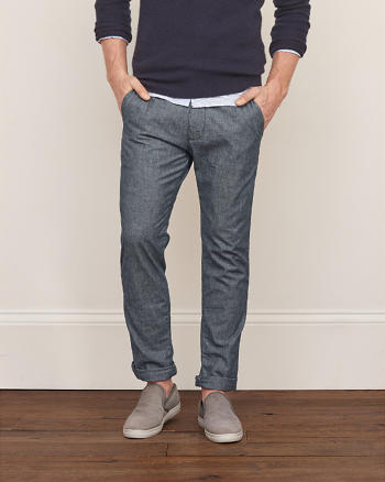 ANF A&F True Indigo Dye Classic Taper Chino Pants