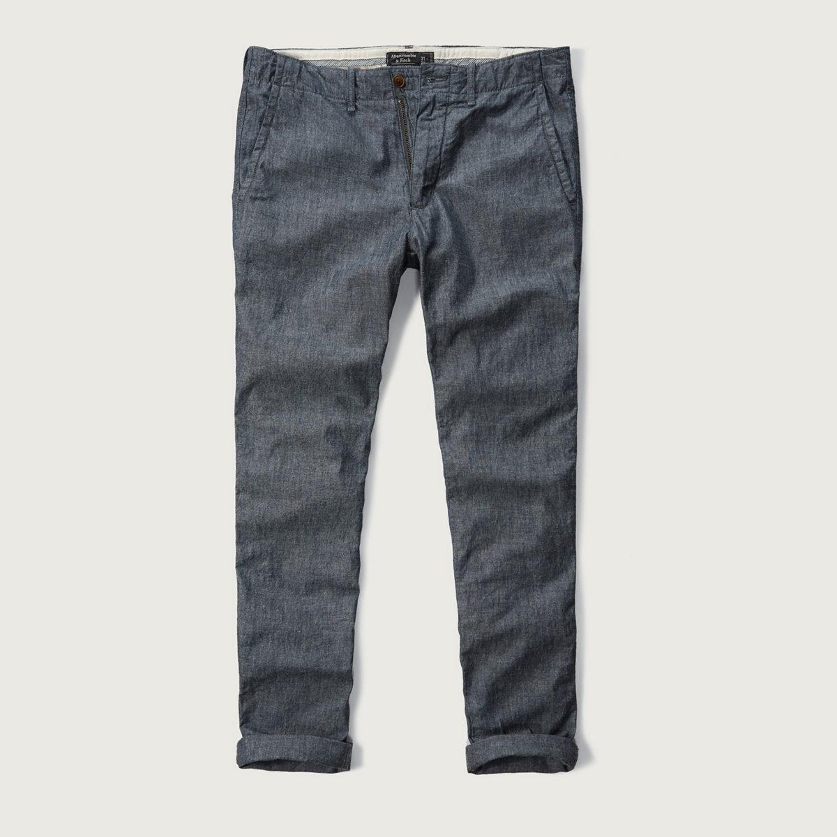 A&F True Indigo Dye Classic Taper Chino Pants