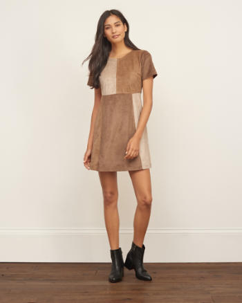 Womens Faux Suede Patchwork Shift Dress