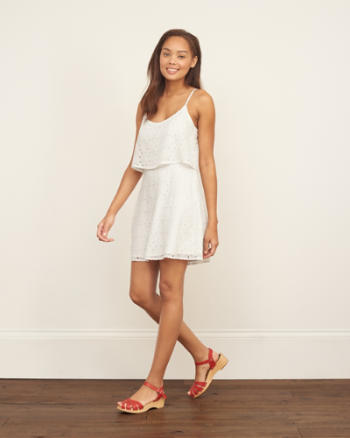 Womens Eyelet Overlay Dress