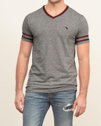 Mens Contrast V-neck Tee