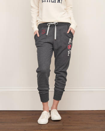Womens A&F Logo Graphic Joggers