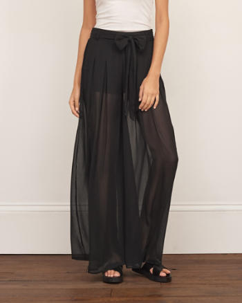Womens Chiffon Wide Leg Pants