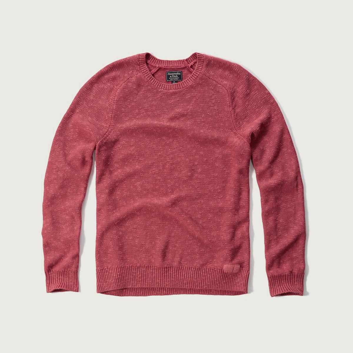 Rib-Trim Crew Sweater