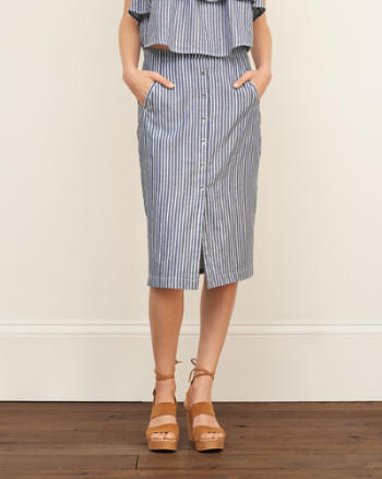 ANF Stripe Midi Skirt