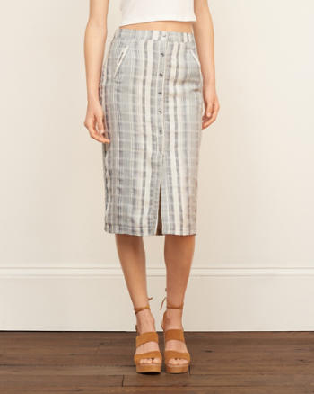 Womens Stripe Midi Skirt