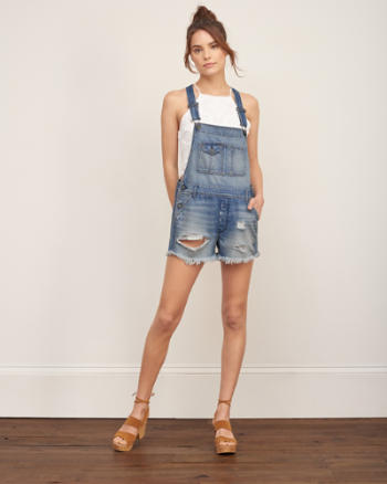Womens A&F Denim Shortalls